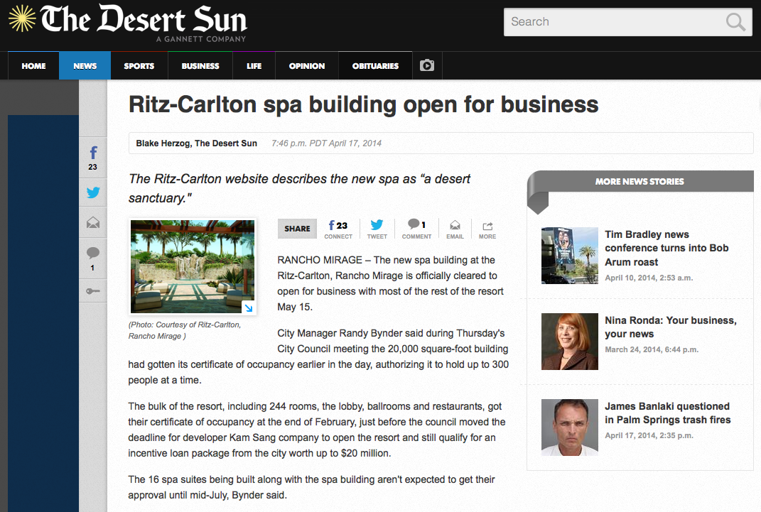ritz-carlton, rancho mirage, desert sun, spa consulting, spa consultant, spa management, spa operations, recreation, fitness, fitness management, fitness consulting, recreation management, recreation consulting, community programs, recreational programs, spa awards, best spa